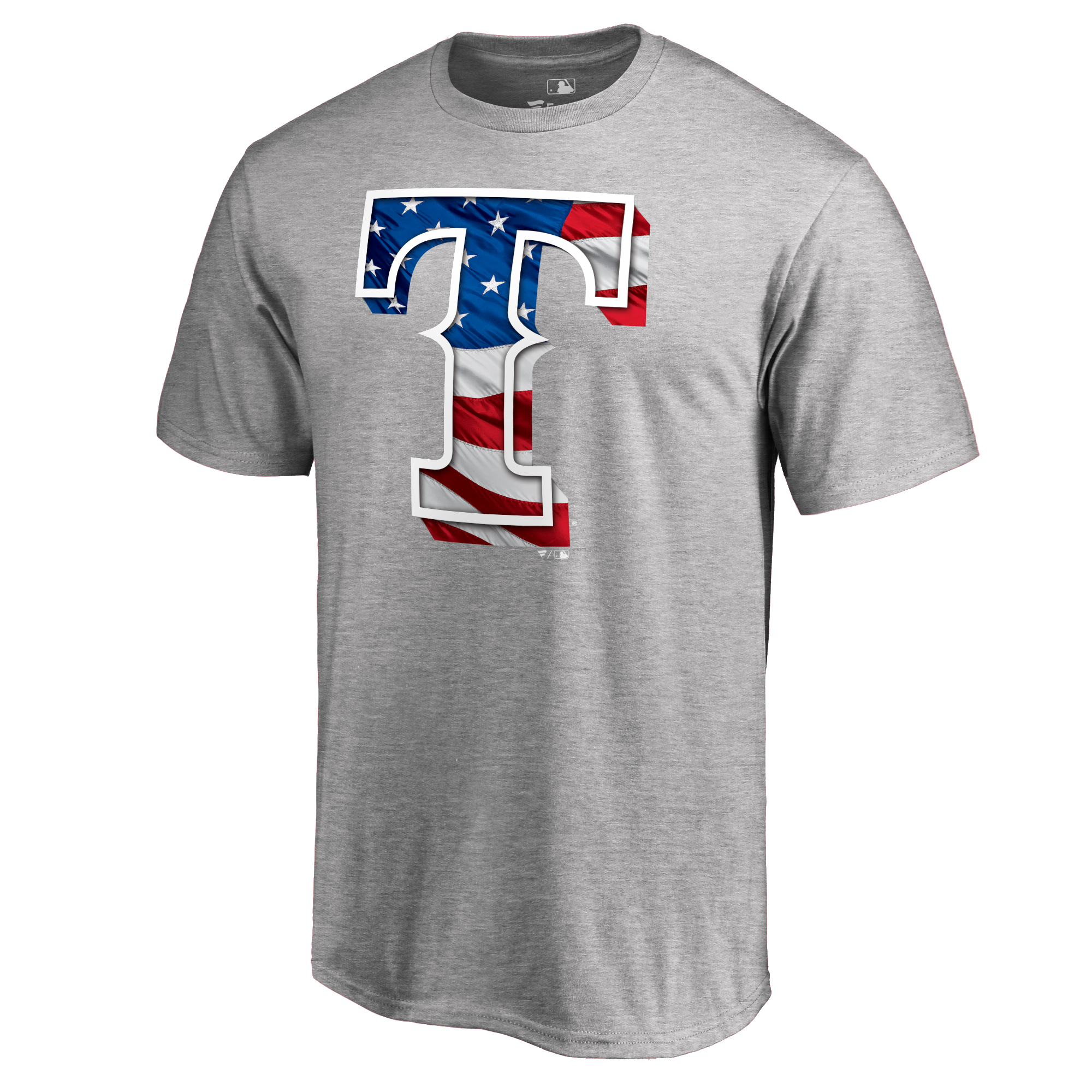Texas Rangers Fanatics Branded 2018 Stars & Stripes Big & Tall Primary Logo Banner Wave T-Shirt - Heather Gray