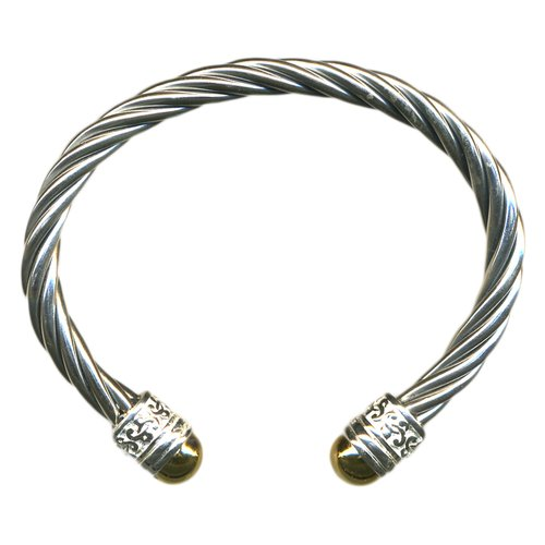 Sterling Silver Tip Twisted Cuff Bracelet