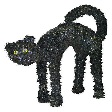 3D Tinsel Cat Halloween Decoration  Black