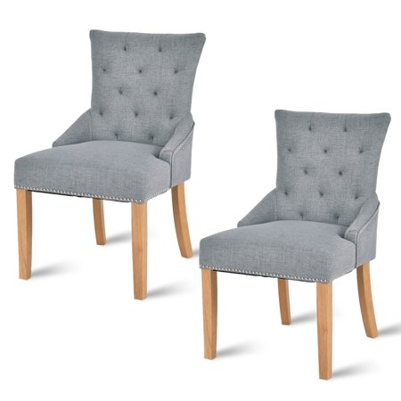 Costway Set Of 2 Armless Dining Chairs Elegant Tufted Design Fabric Upholstered Modern ()