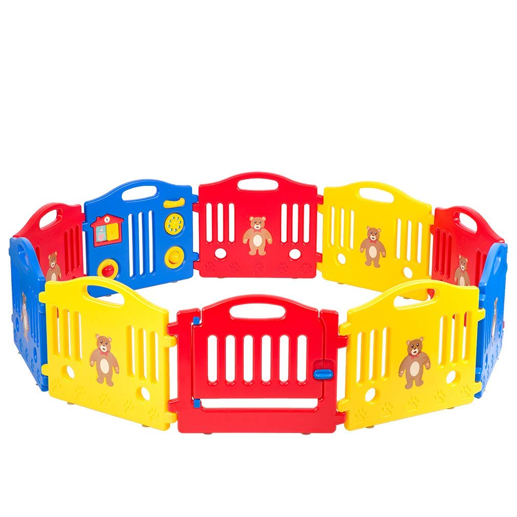 Baby Play Yard baby Playpen Safety Play Yard Fence Activity Centre 10 Panel with Gate Door Home Indoor Outdoor Activity Cente