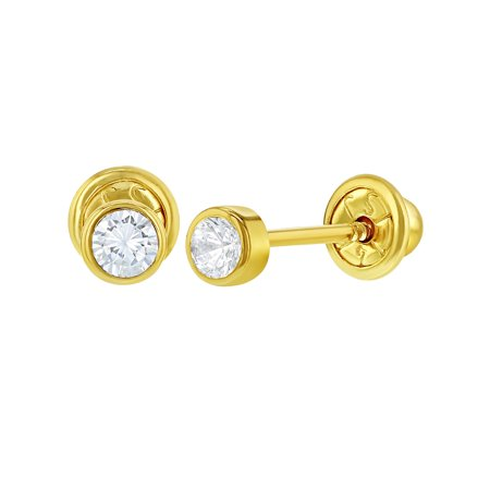 14k Yellow Gold Tiny Bezel Clear CZ Screw Back Baby Infants Girls Earrings 3mm
