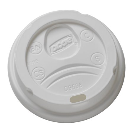 Dixie® (9538DX) Small Dome Plastic Hot Cup Lid by Georgia-Pacific, For Dixie® Disposable Coffee Cups, White, 10 Sleeves at 100 Lids (1000 Lids Total)