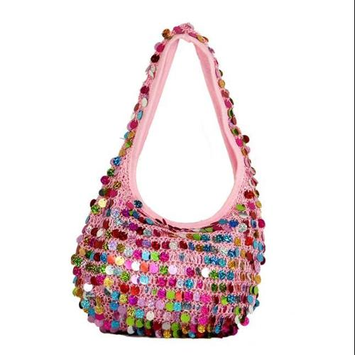 "9"" Diva Fashion Purse Small Pink Hobo Handbag with Shiny Multi-Colored Sequins"