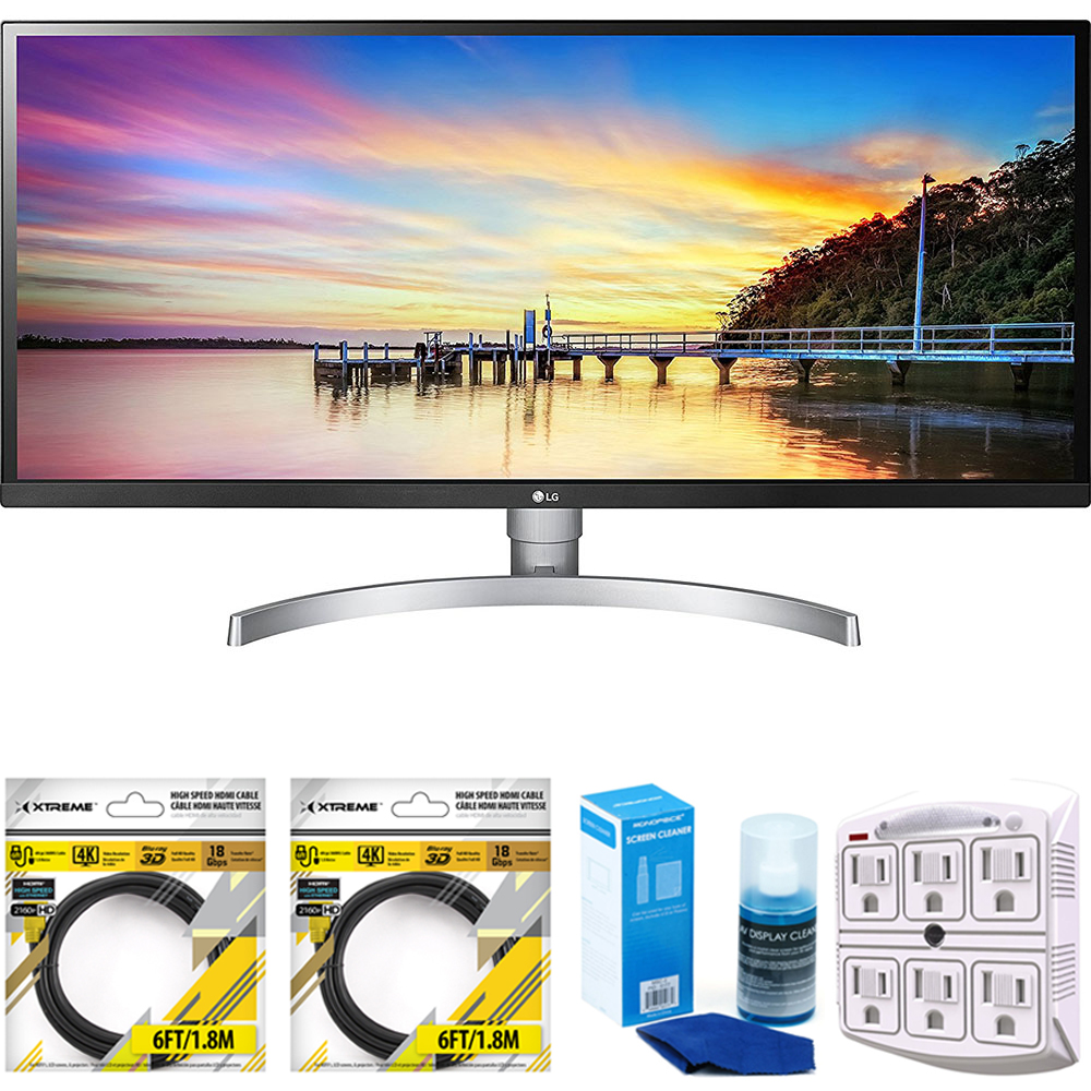 """LG 34"""" 21:9 UltraWide Full HD IPS LED Monitor with HDR 10 2018 Model (34WK650-W) with 2x 6ft High Speed HDMI Cable Black, Universal Screen Cleaner & 6 NT 750 Joule 6-Outlet Surge Adapter"""