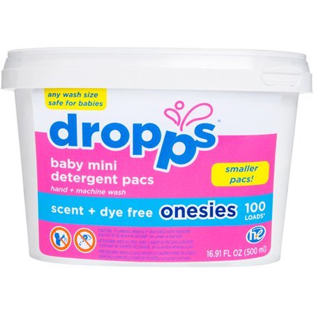 Dropps Onesies Scent + Dye Free Baby Mini Laundry Detergent Pacs, 100 count, 16.91 fl oz