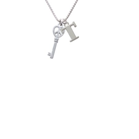 Silvertone Open Peace Heart Key Capital Initial T Necklace