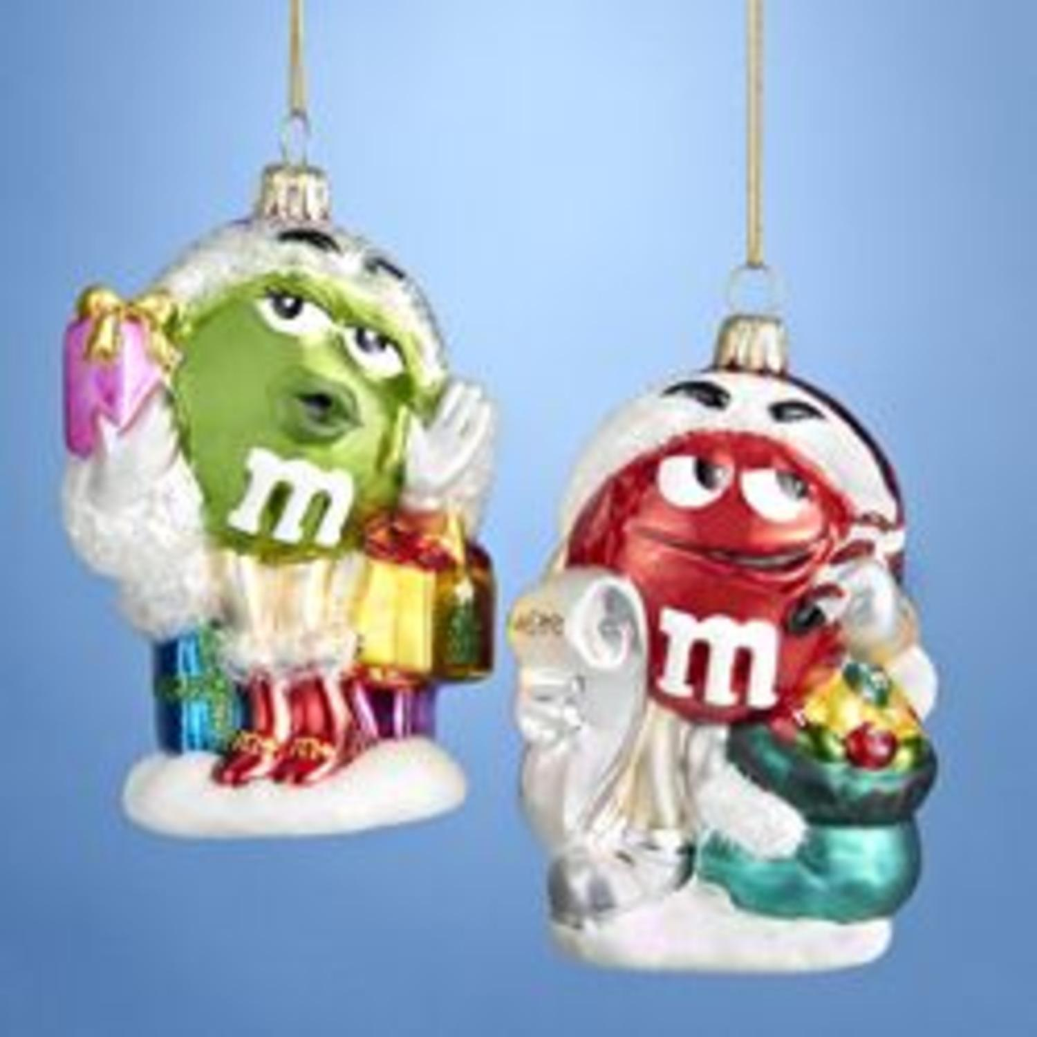 Pack of 6 Red and Green M&M's Blown Glass Nostaglic Christmas Ornaments 4.25""
