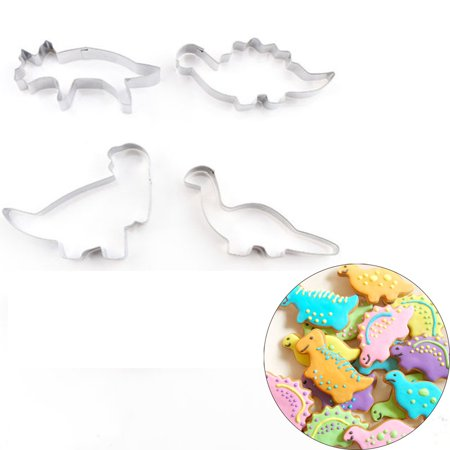 4PCS Stainless Steel Dinosaur Cookies Cutter Biscuit Pastry Cake Fondant Mould - Dinosaur Cookie Cutters