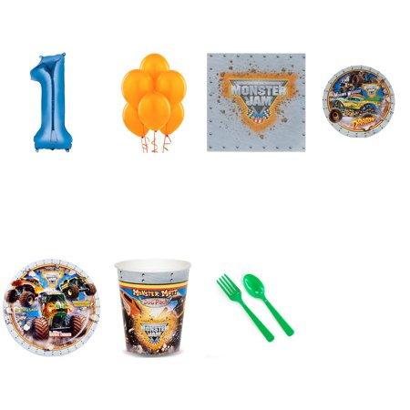 Monster Jam Party Supplies Party Pack For 16 With Blue #5 (Def Jam Fight For Ny For Sale)