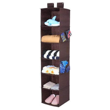 Magicfly Hanging Closet Organizer with 4 Side Pockets, 6-Shelf Collapsible Closet Hanging Shelf for Sweater & Handbag Storage, Easy Mount Hanging Clothes