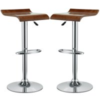 Modern Contemporary Dining Kitchen Wood Bar Stools Set of Two Oak
