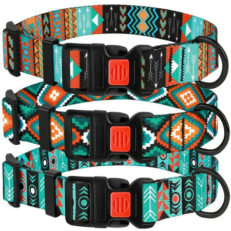 Nylon Dog Collar Adjustable Collars for Medium Dogs with Buckle Tribal Design, Pattern 3