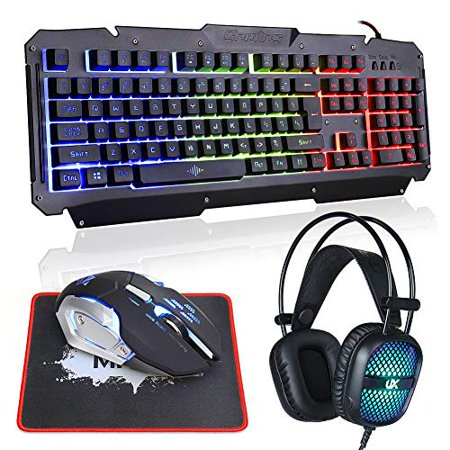 MFTEK Rainbow Backlit Wired Gaming Keyboard and Mouse Combo with LED Glowing PC Over-Ear Headset Set+ Mouse Pad for Gaming