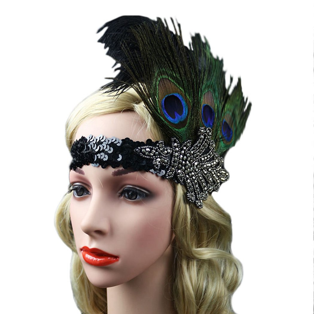 Fascigirl Peacock Feather Fascinator Headband Sequin Party Headwear ... 0cc30214de6