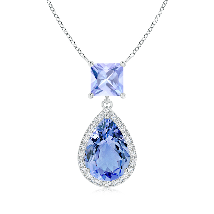 December Birthstone Pendant Necklaces Square and Pear Tanzanite Pendant with Diamond Halo in .925 Sterling Silver... by Angara.com