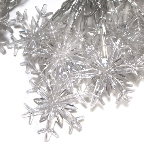 2EL50LEDSNOW Electric Powered 50 LED White Snowflake Extendable String Light Christmas Holiday Light, 19.5', Lot of 2 by ALEKO