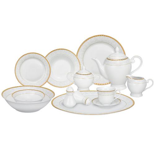 Lorren Home Trends Ricamo Porcelain 57 Piece Dinnerware Set, Service for 8