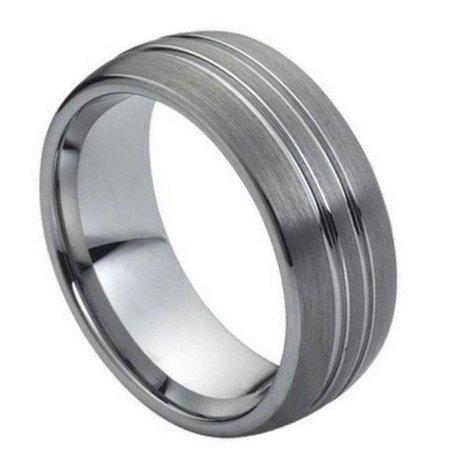TK Rings 032TR-8mmx12.0 8 mm High Polish Double Groove Design Tungsten Ring - Size 12 - image 1 de 1