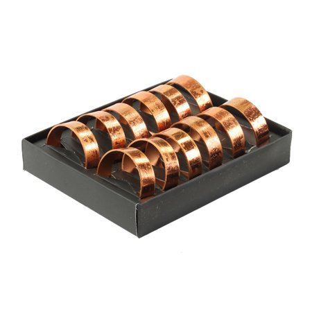 Koyal Wholesale Distressed Copper Napkin Ring Metal Bands, Bulk Set of 12, for Paper Napkin, Cloth Napkin