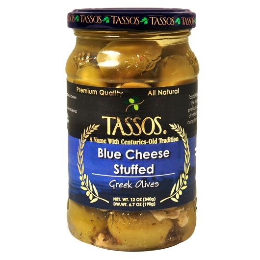 Greek Olives Stuffed with Blue Cheese (Tassos) 12 oz