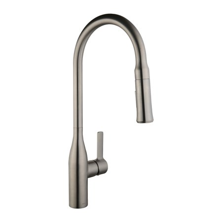 Keewi Brushed Nickel Pull out Kitchen Faucet, Kitchen Faucets Single Handle  with Pull Down Sprayer,Solid Brass & Ceramic Cartridge