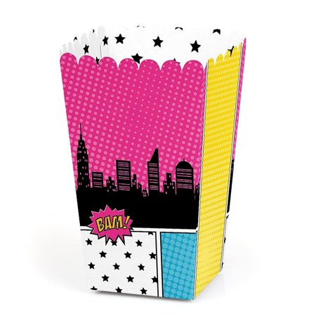 BAM! Girl Superhero - Baby Shower or Birthday Party Favor Popcorn Treat Boxes - Set of 12