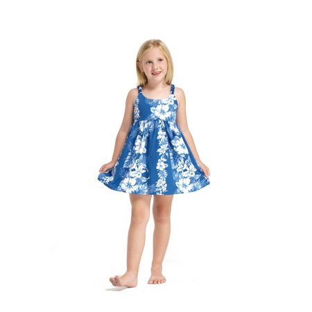 Made in Hawaii Luau Elastic Strap Dress in White Line Floral in Blue 6M - Luau Items