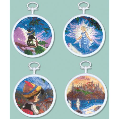 "MCG Textiles Pinocchio Mini Vignettes Counted Cross Stitch Kit-3"" Round 16 Count Set Of 4"