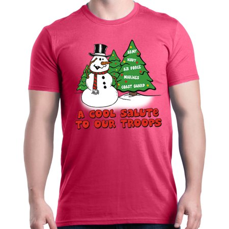 Shop4Ever Men's A Cool Salute to Our Troops Christmas Xmas Graphic