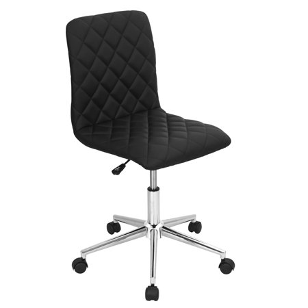 Caviar Leather - Caviar Contemporary Adjustable Office Chair in Black Faux Leather by LumiSource