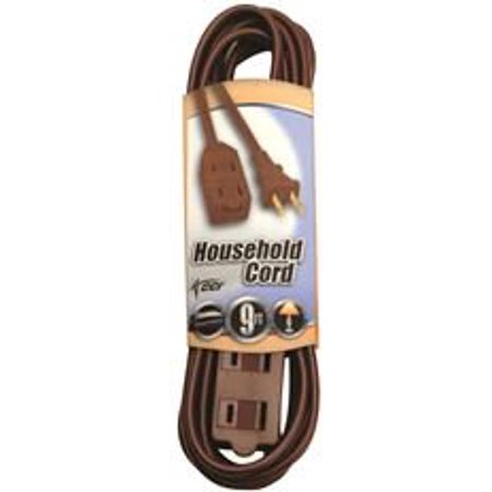 HOUSEHOLD CUBE TAP EXTENSION CORD, 16/2, 9 FT., BROWN