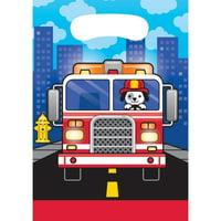 Creative Converting Fire Trucks Favor Bags, 8 ct