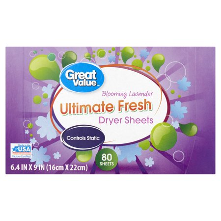 Great Value Ultimate Fresh Dryer Sheets, Blooming Lavender, 80 Count