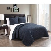 Alia 3-piece Cotton Quilt Set Queen Midnight/ Slate