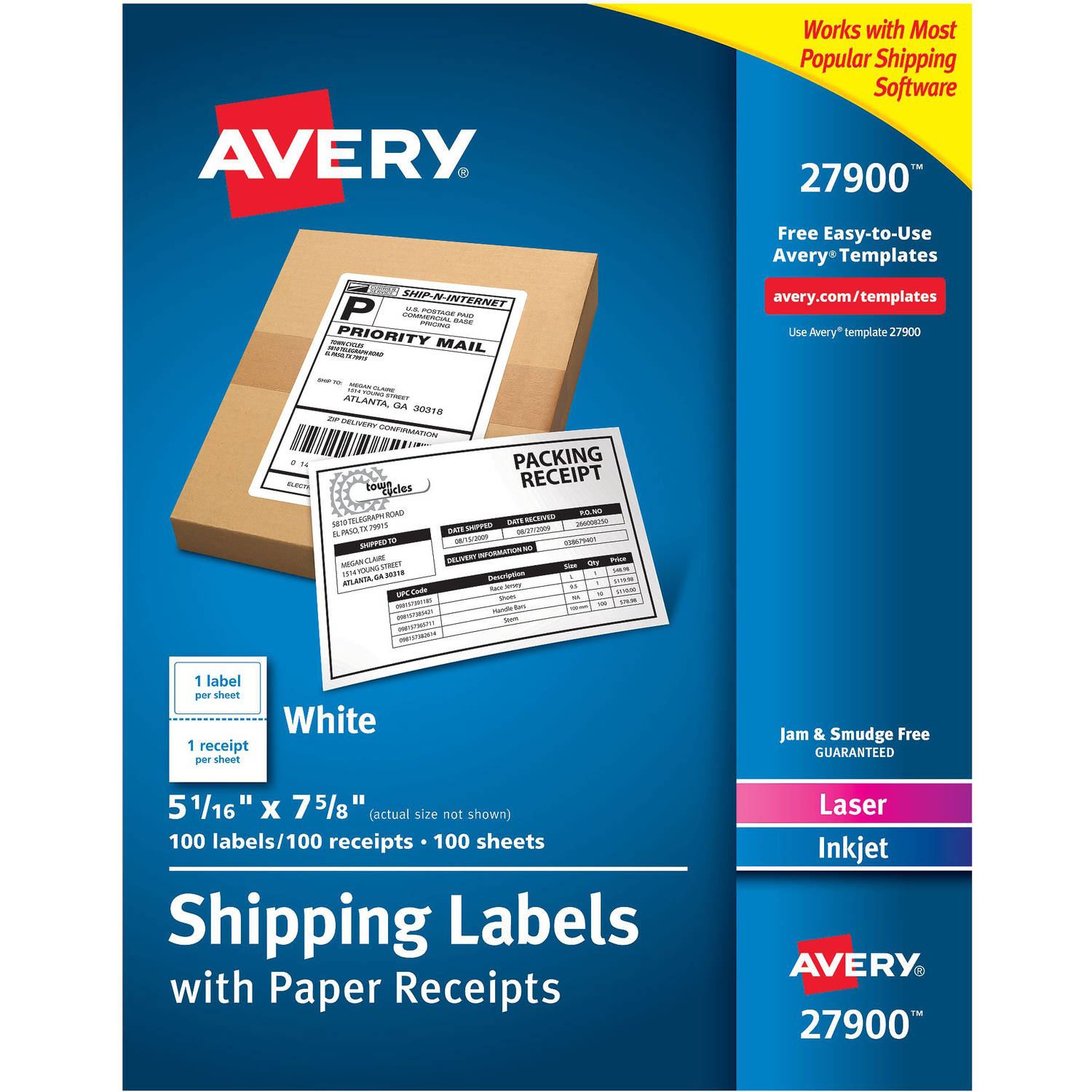 "Avery Paper Receipt White Shipping Labels - Permanent Adhesive - 100 Label(s)"" - 5.06"" Width x 7.62"" Length - 1 AVE27900"