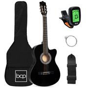 Best Choice Products Beginner Acoustic Guitar Starter Set 38in w/ Case, All Wood Cutaway Design, Strap, Tuner - Black