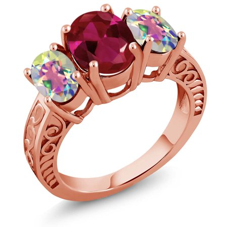 3 60 Ct Red Created Ruby Mercury Mist Mystic Topaz 18K Rose Gold Plated Silver Ring