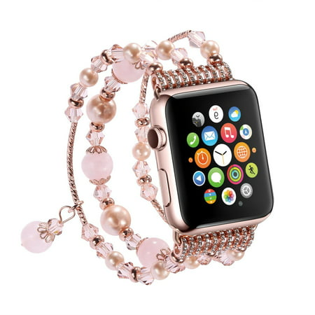 for Apple Watch Band, Fashion Handmade Elastic Stretch Faux Pearl Bracelet Replacement Women Girls iWatch Bands Strap for Apple Watch Series 3/2/1 38mm - Pink