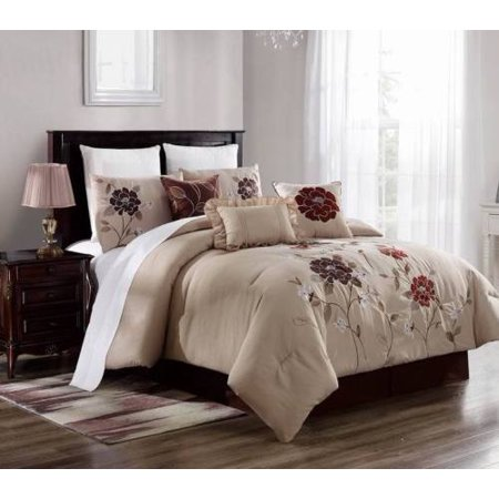 Ginger Bed Cover - KING 3PC Brenda#5 Luxurious Printed Duvet Bed Cover Set, One (1) Oversized Embroidered Duvet Cover with Two (2) Pillow Shams