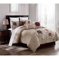 KING 3PC Brenda#5 Luxurious Printed Duvet Bed Cover Set, One (1) Oversized Embroidered Duvet Cover with Two (2) Pillow Shams