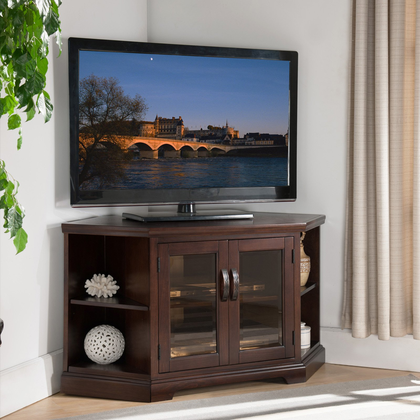 "Leick Home 46"" Corner TV Stand w/Bookcase for TV's up to 50"", Chocolate Cherry and Bronze Glass"