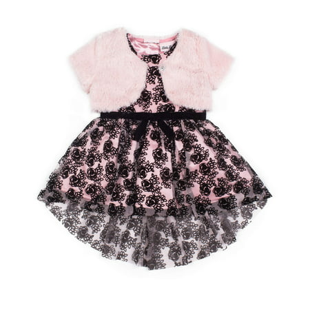 Floral Special Occasion Holiday Dress with Shrug, 2pc Set (Baby Girls & Toddler Girls)