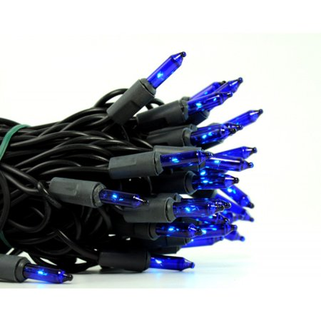 50 Blue Mini Lights - 4'' Spacing - Black Wire ()