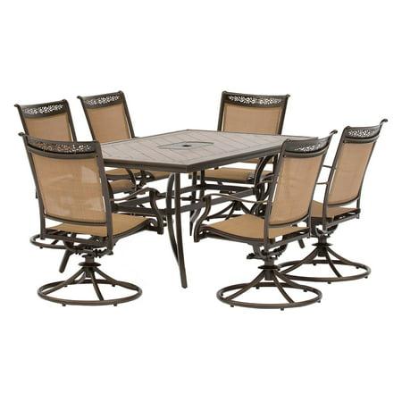 Hanover Fontana 7-Piece Outdoor Dining Set with Swivel ...