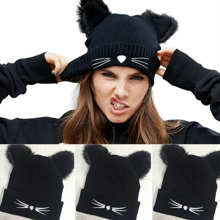 Cat And The Hat Hats (SUNSIOM Women Cat Ear Warm Winter Knitted Beanie Crochet Braided Knit Ski Wool Hat)