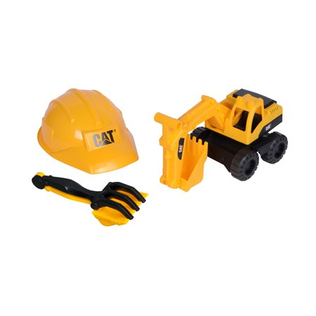 Caterpillar Tough Tracks Construction Crew Excavator Sand Set with Shovel, Rake and Construction Helmet.