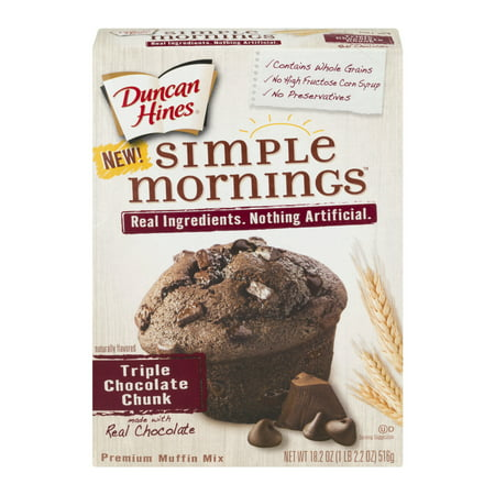 (2 Pack) Duncan Hines Simple Mornings Triple Chocolate Chunk Premium Muffin Mix, 18.2 oz Duncan Hines Muffin Mix