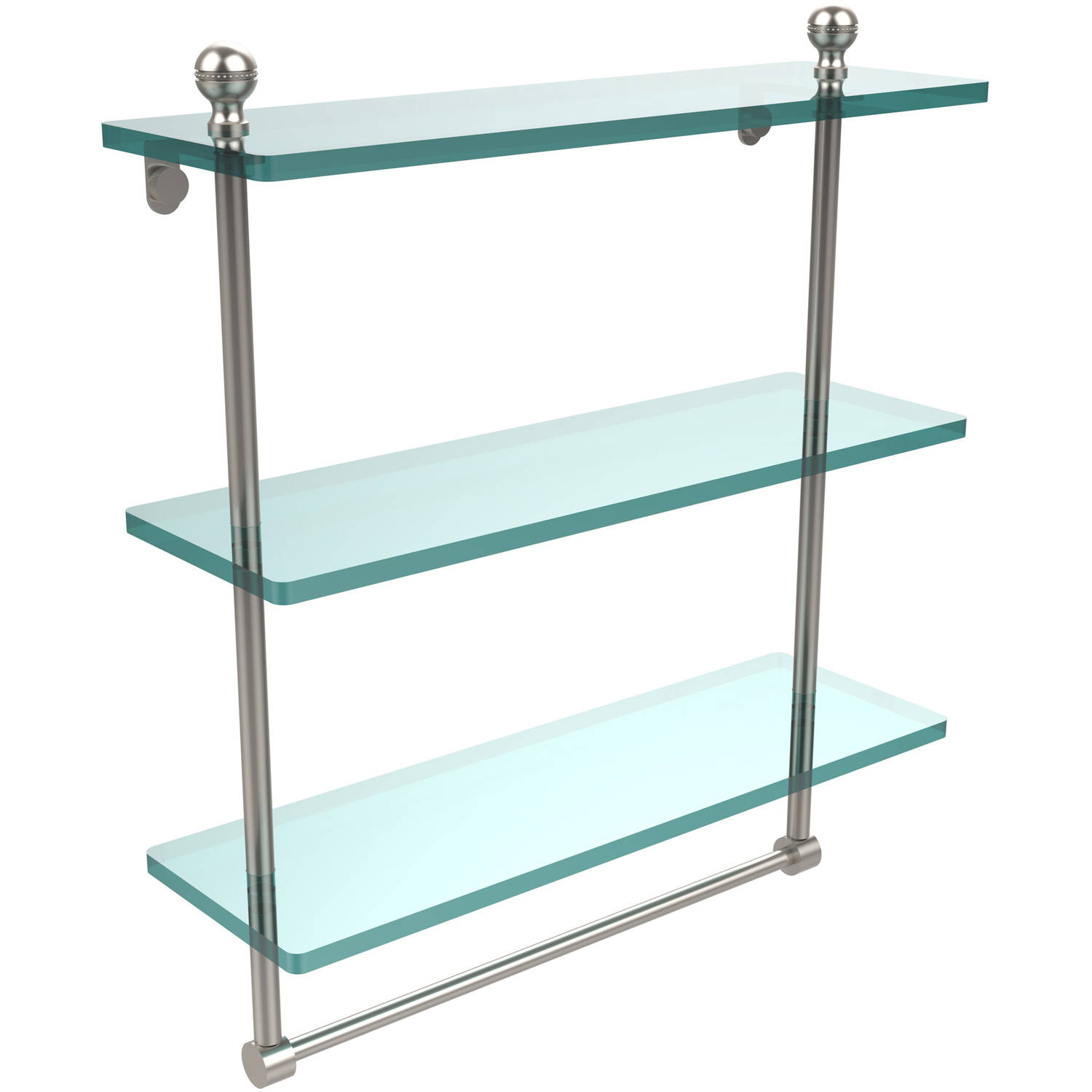 "Mambo Collection 16"" Triple Tiered Glass Shelf with Integrated Towel Bar (Build to Order)"