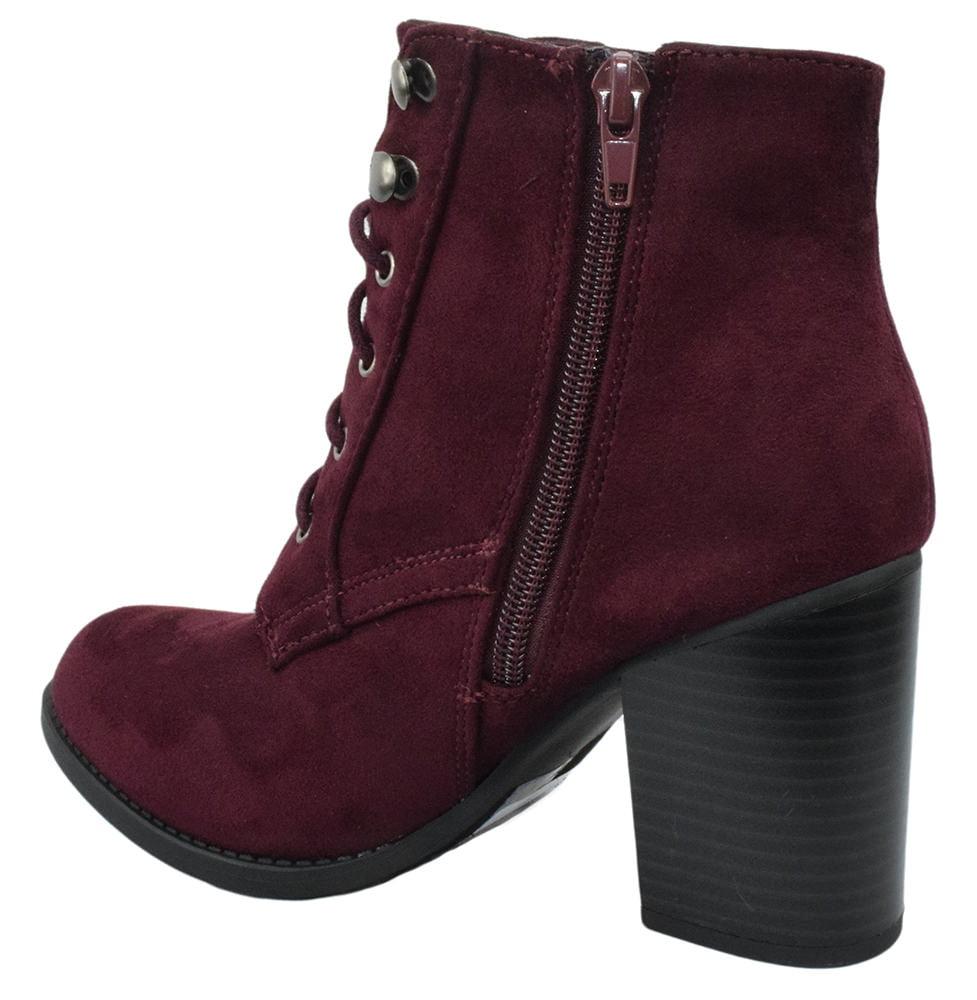 41724c4e8eeb soda - Lurk Combat Ankle Boots Soda Lace Up Booties Women Thick Heel Side  Zipper Suede Burgundy Vino Red - Walmart.com